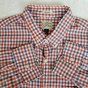 J Crew plaid button down shirt, classic fit, sz L.